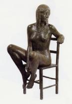 11 - Modella sulla sedia - 2002, bronzo cm 64x30x37 -