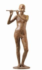 26 - Adolescente con flauto - 1991, bronzo altezza cm 150 -