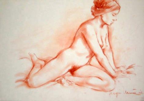 01 - Nudo inginocchiato - Sanguigna 2002, cm 43x30 -