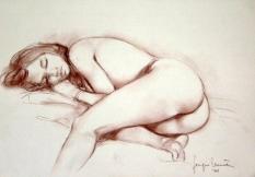 03 - Nudo Elisa - Contè marrone 2001, cm 50x35 -