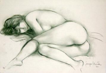 04 - Nudo sdraiato - Contè verde 2001, cm 50x35 -