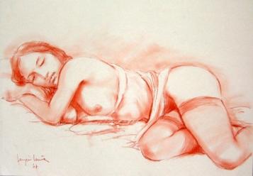 05 - Modella dormiente - Sanguigna 2007, cm 50x35 -