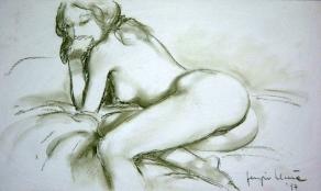 07 - Nudo con calze di spalle - Sanguigna 2003, cm 50x35 -