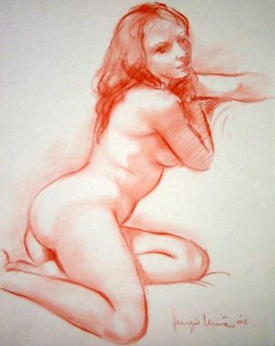 11 - Nudo sul divano - Sanguigna 2002, cm 35x50 -